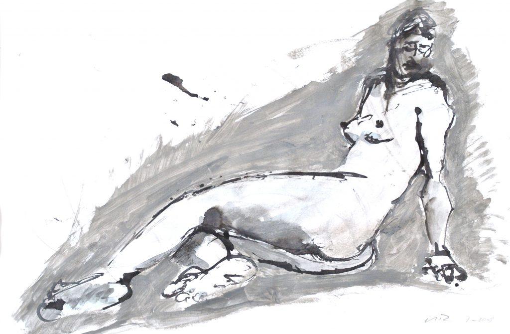 weiblicher Akt sitzend in Grau / Mischtechnik auf Papier / 2005