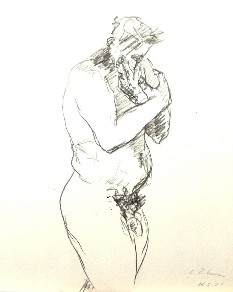 männlicher Akt stehend / Grafit auf Papier / 2001