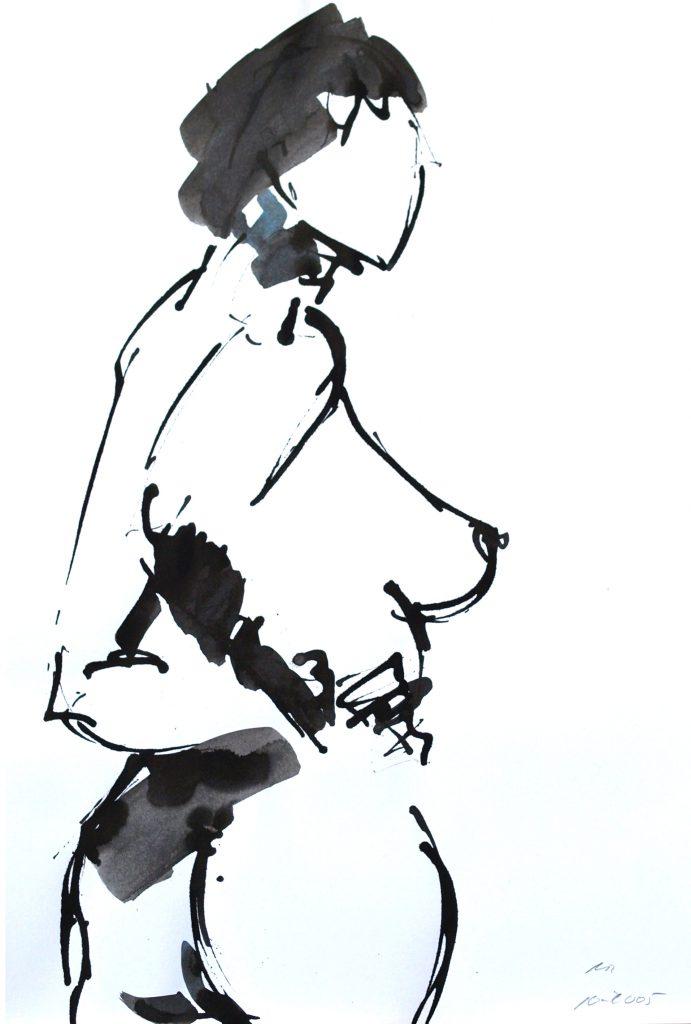 weibl Akt gedreht / Tusche auf Papier