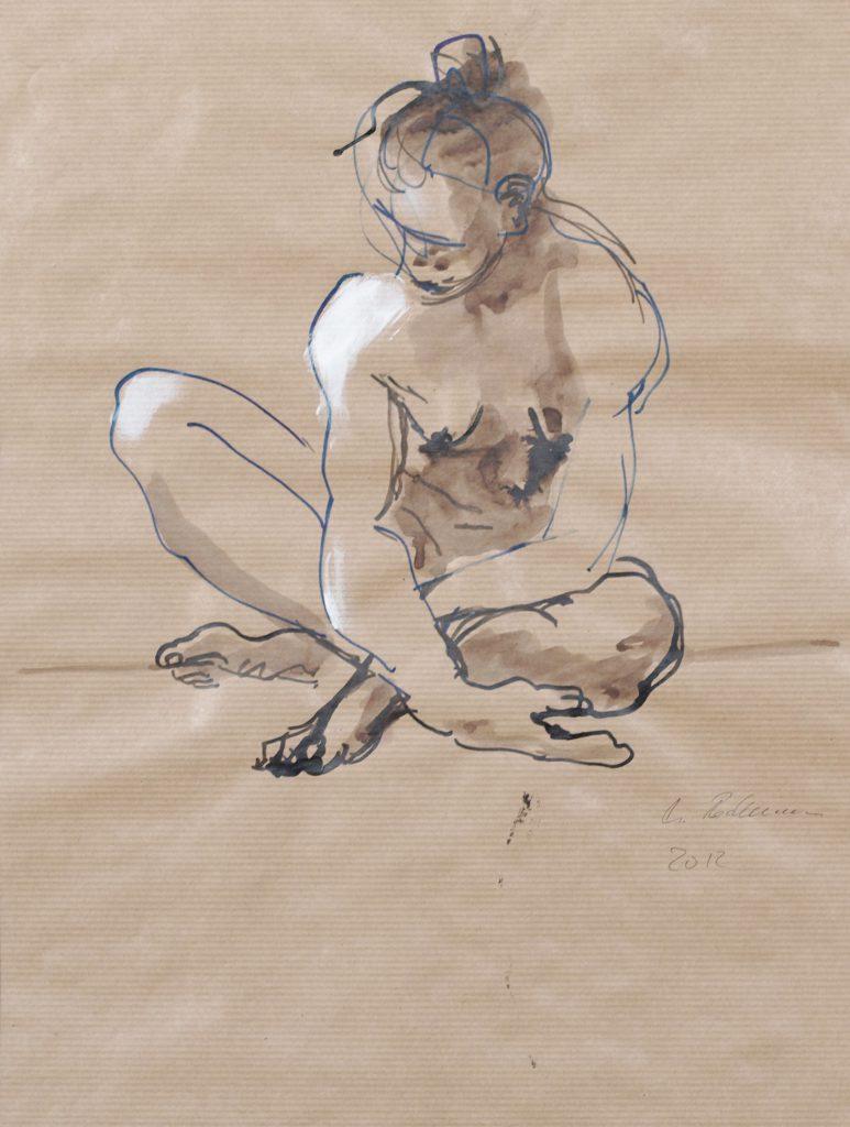 weiblicher Akt sitzend / Mischtechnik auf Papier / 2012