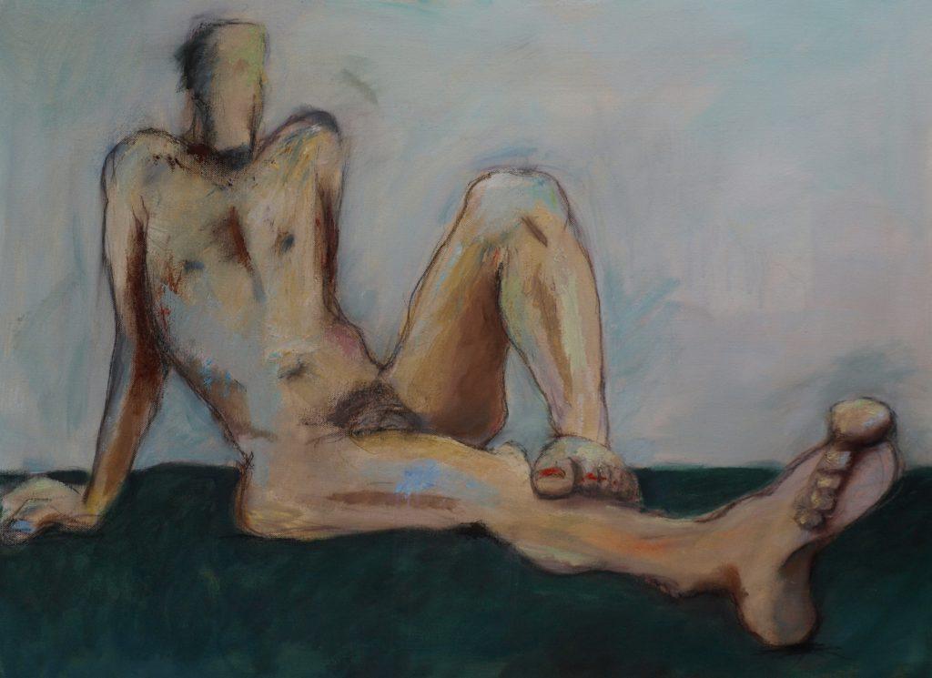 männlicher Akt grün-blau / 60x80 cm / Acryl / 2009