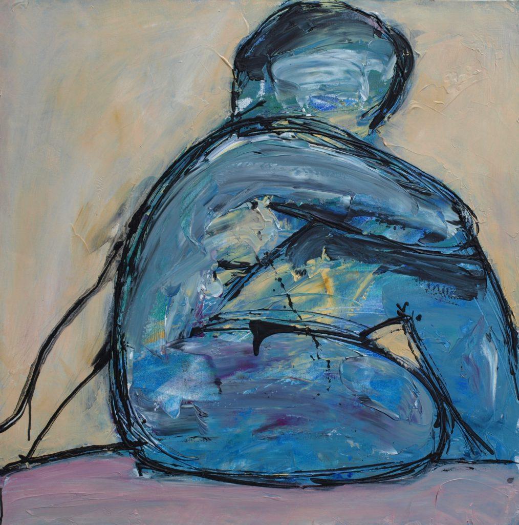 Akt weiblich Blau / 80x80 cm / Acryl / 2009