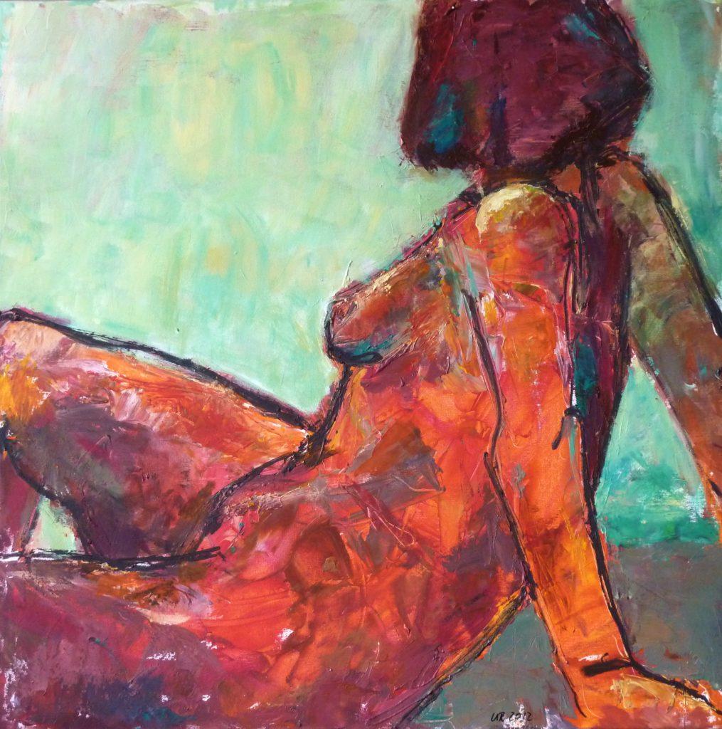 weiblicher Akt in Rot / 80x80 cm / Acryl /2011
