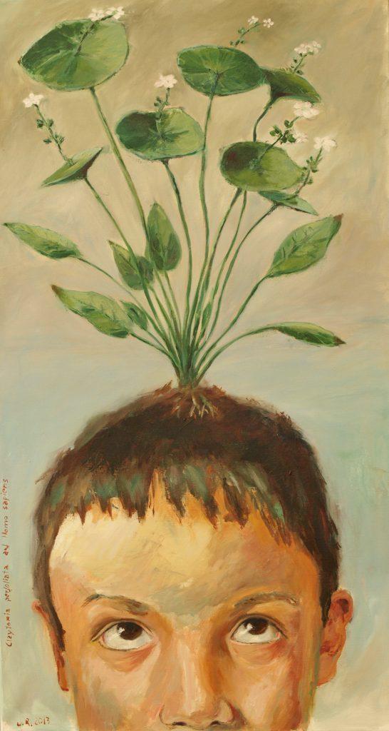 Claytonia perfoliata auf H. sapiens / 100x55 cm / Acryl / 2013