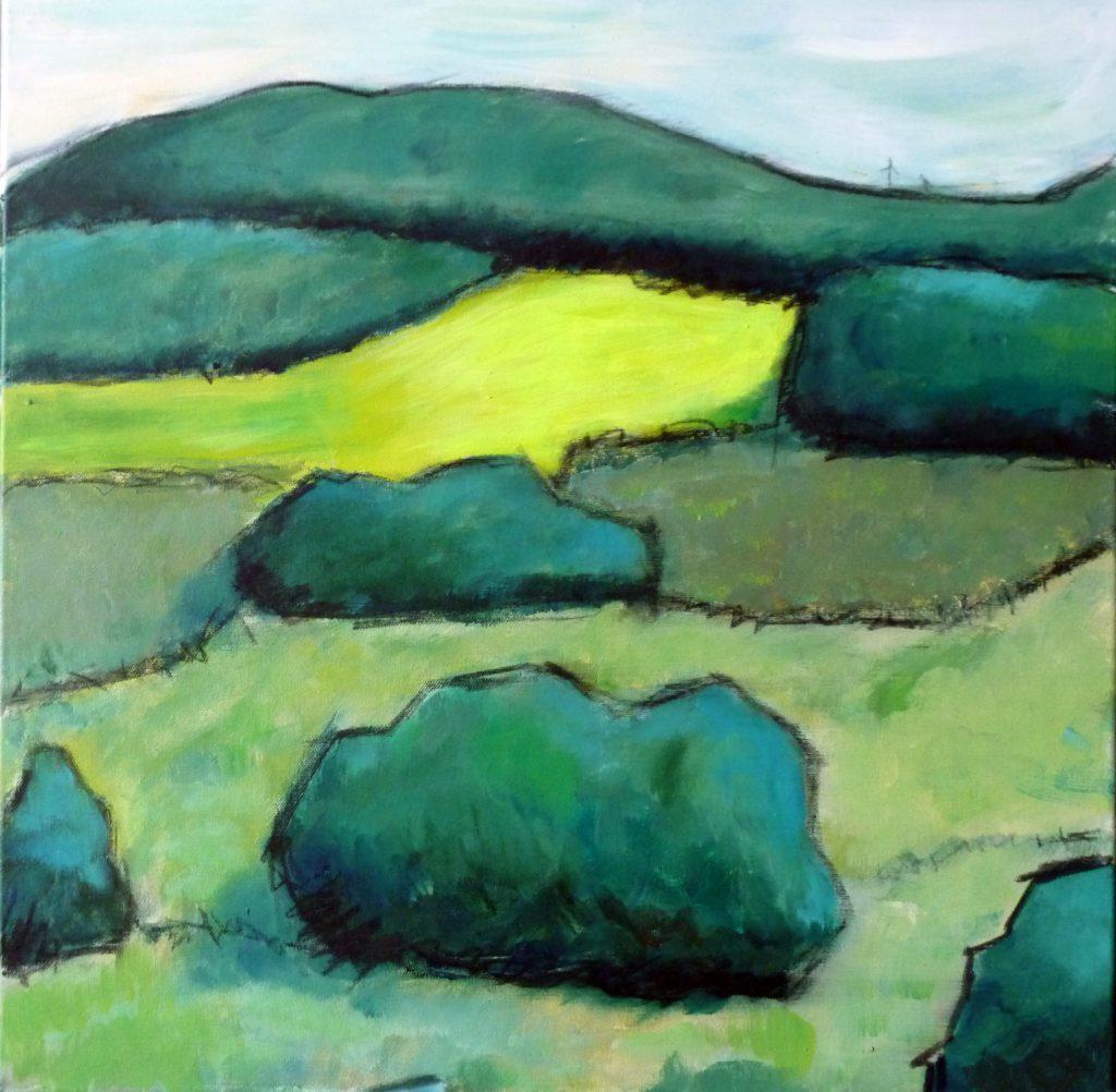 Detail zweier Windraeder in der Eifel / 60x60 cm / Acryl / 2012