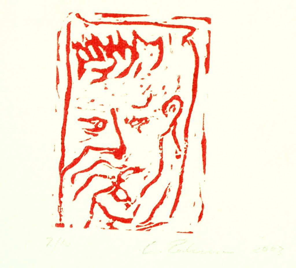 Roter Mann / 12x8 cm / Linoldruck auf Papier / 2003