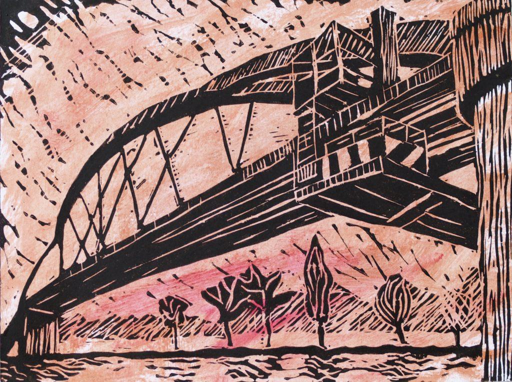 Mainbrücke 3 / 18x24 cm / Linoldruck koloriert / 2014