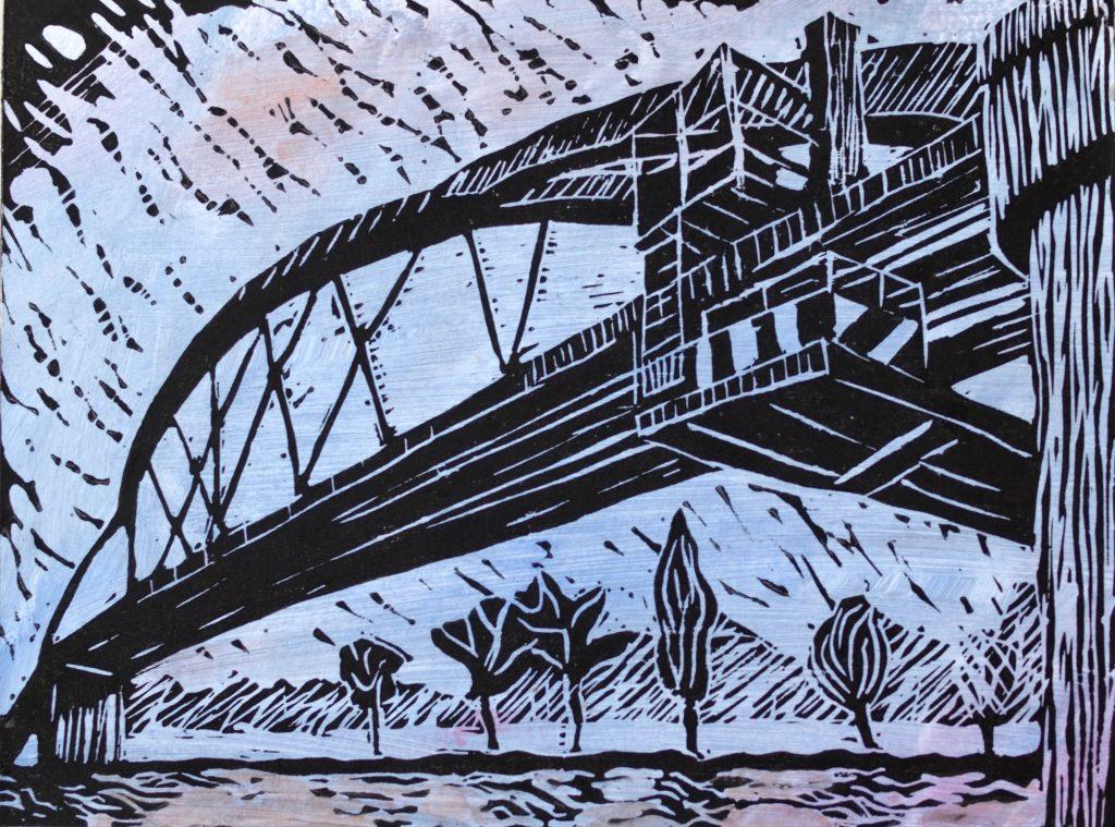 Mainbrücke 5 / 18x24 cm / Linoldruck koloriert / 2014