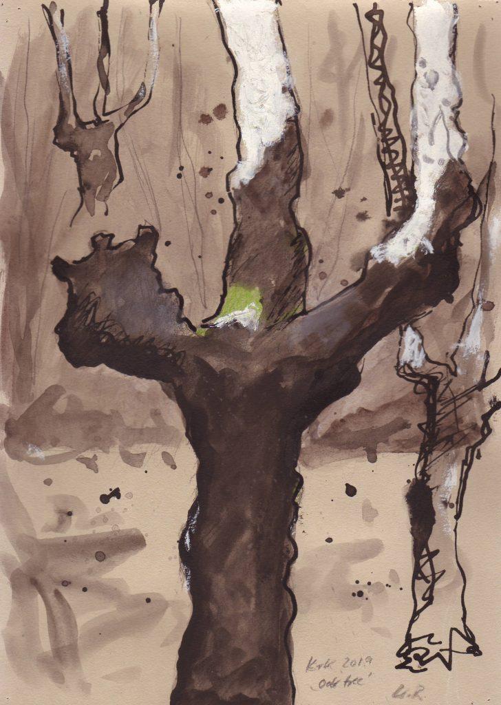 "Malinska 1 ""oak tree""/ 29x21 cm / mixed media / 2019"
