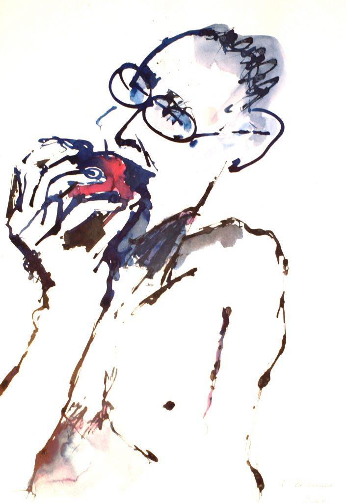 Mann in Apfel beißend / Tusche auf Papier
