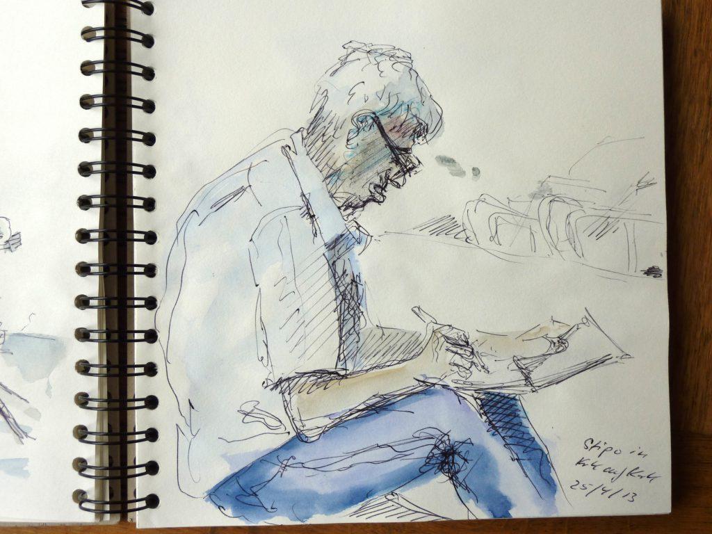 Stipo zeichnet / Kugelschreiber u. Aquarell / 2013