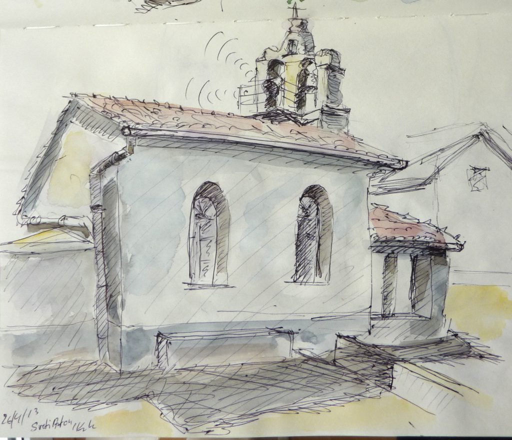 Sveti Anton Kirche / Kugelschreiber u. Aquarell / 2013