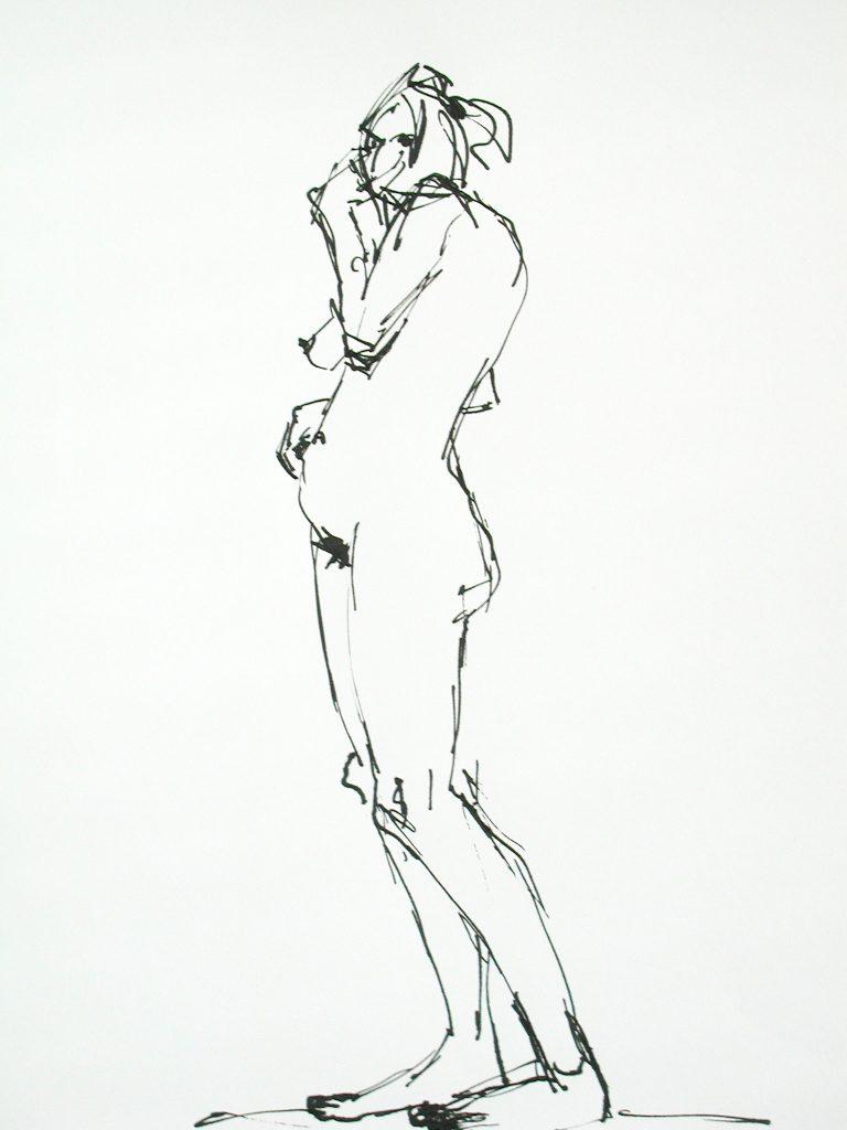 weiblicher Akt / Tusche auf Papier