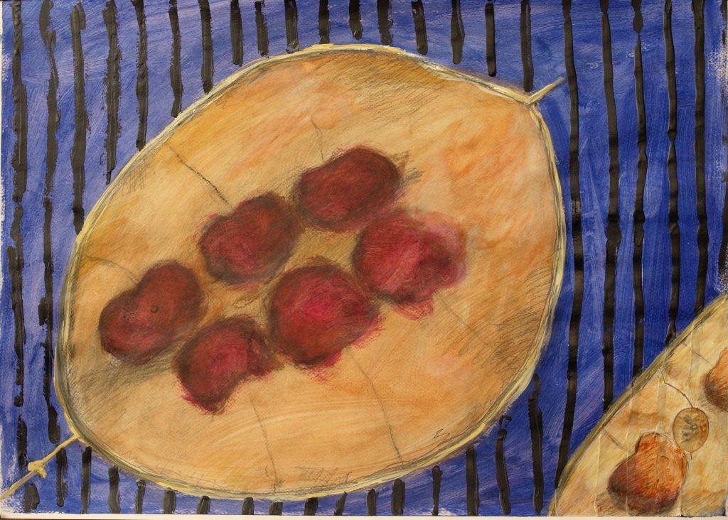 Silberblatt Frucht / 50x70 cm /Mischtechnik auf Papier / 2013