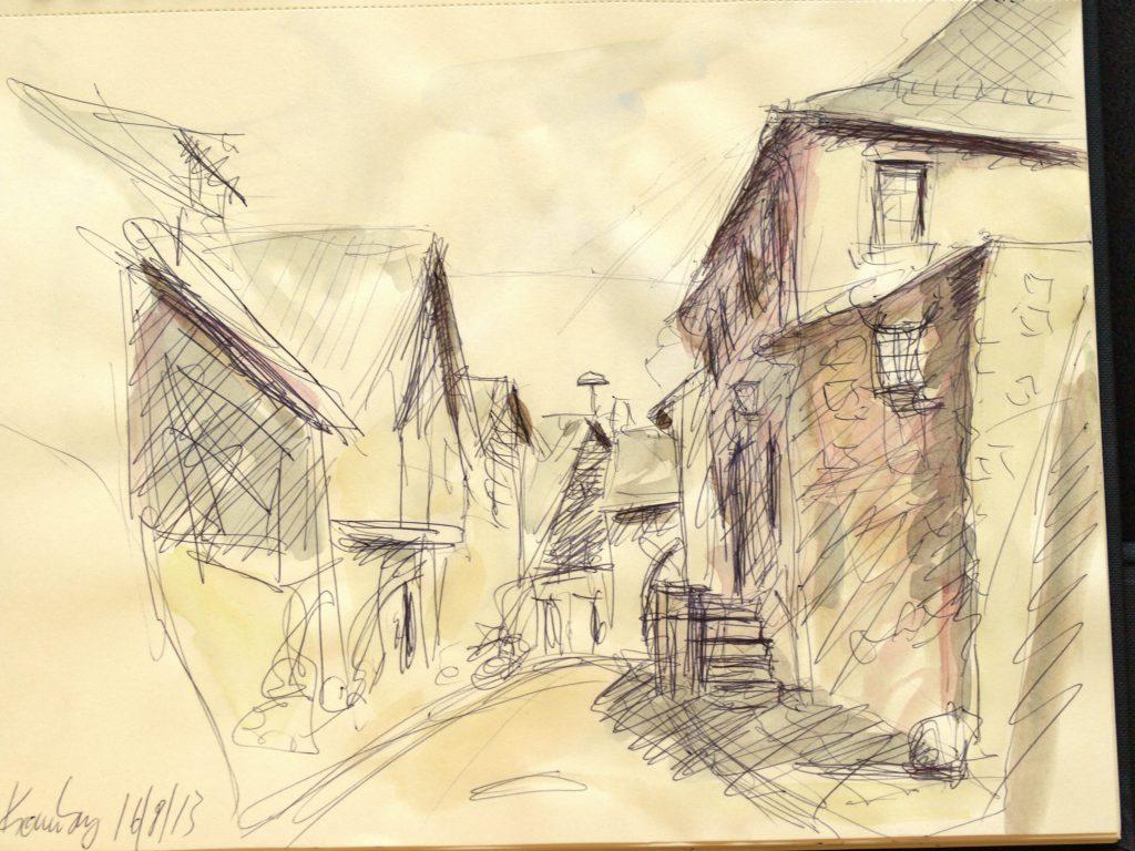 Kronenburg / Kugelschreiber u. Aquarell auf Papier/ 2013