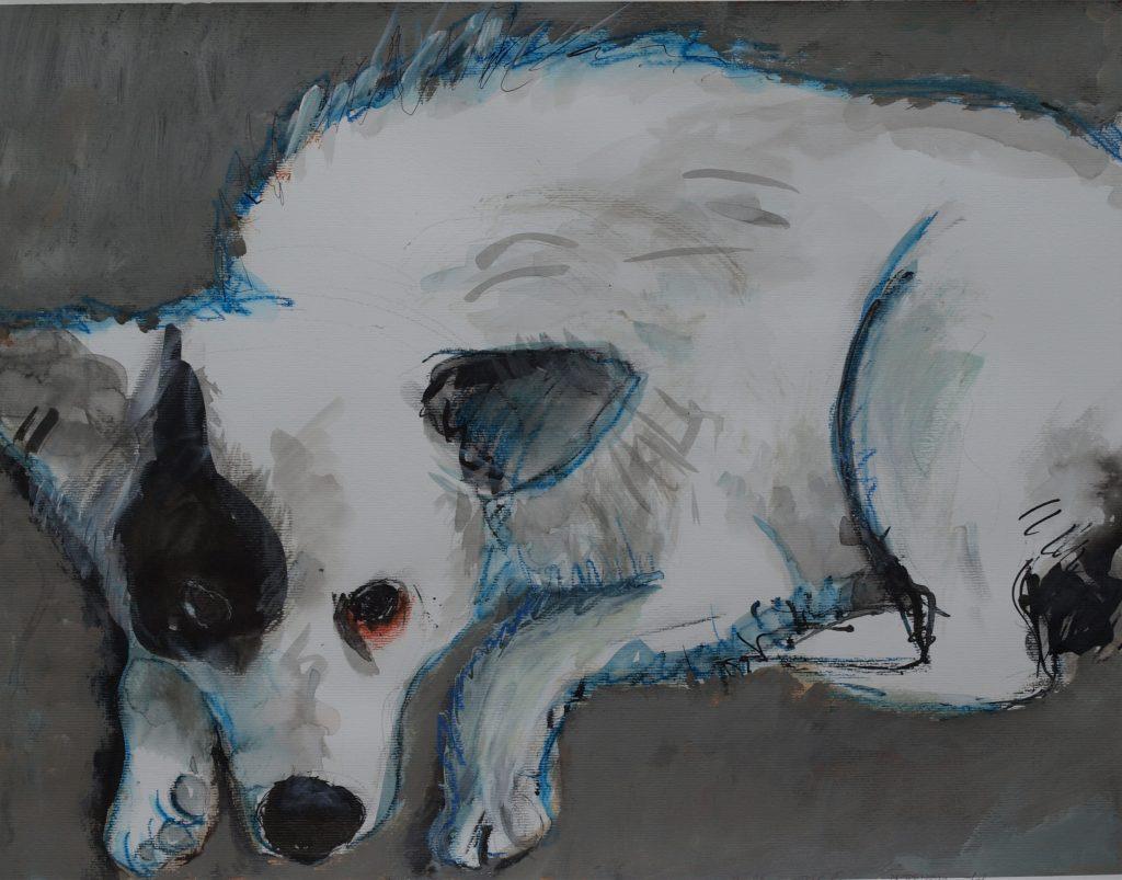 Hund aus Dabuleni / 50x65 cm / Mischtechnik auf Papier / 2020
