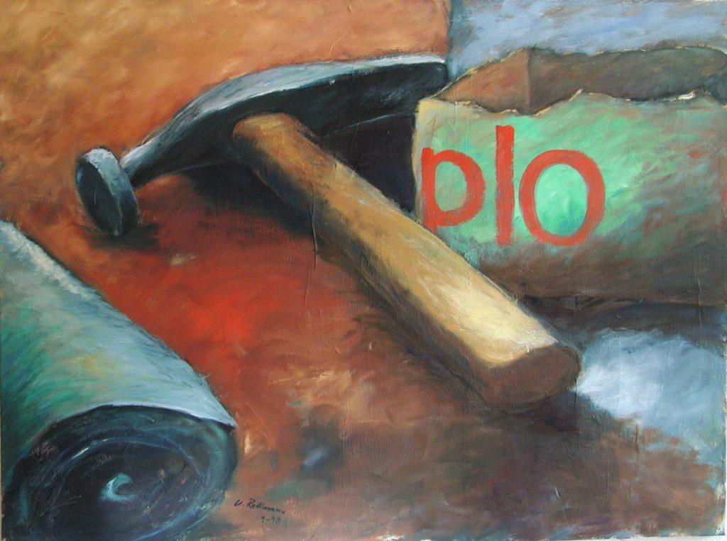Schusterhammer mit Duploschachtel / 100x120 cm / Öl