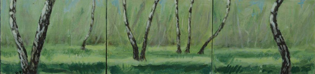 Birkenwald Ostufer / 15x60 cm / Acryl / 2019