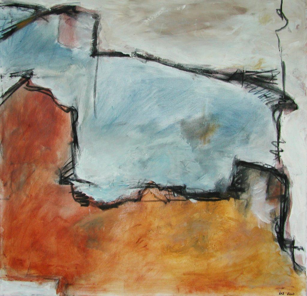Haus abstrahiert / 80x80 / Mischtechnik / 2007